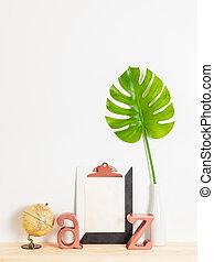 moderne, decor til hjem, hos, blank lagen, i, avis, på, en, clipboard