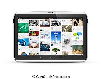 moderne, digitaal tablet, computer, vrijstaand