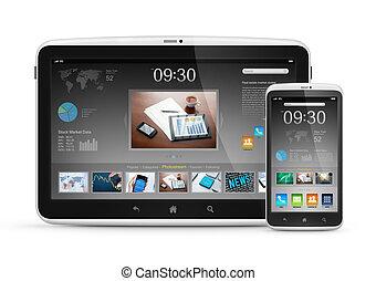 moderne, digitaal tablet, met, beweeglijk, smartphone