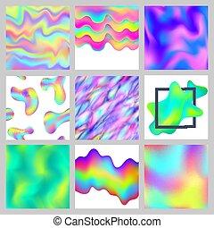 moderne, disposition, remplit, effect., modèle, résumé, papier peint, glitch, texture, brouillé, gradient, couleurs, vecteur, conception, fond, barbouillage, holographic, colorfull, hologramme