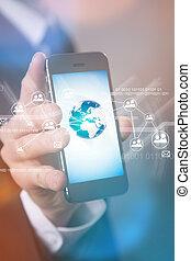 moderne, draadloze technologie, en, sociaal, media