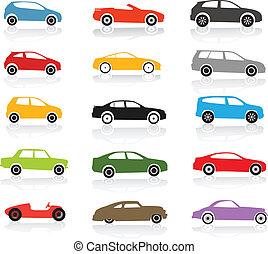 moderne, en, ouderwetse , kleur, auto's, verzameling