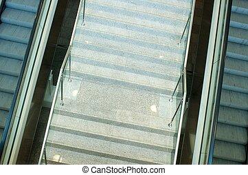 moderne, escalator, bâtiment.