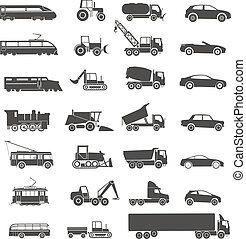 moderne, et, retro, transport, silhouettes, collection, isolé, blanc