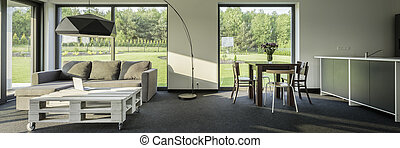 moderne, et, spacieux, intérieur