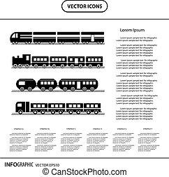 moderne, et, vendange, train, collection