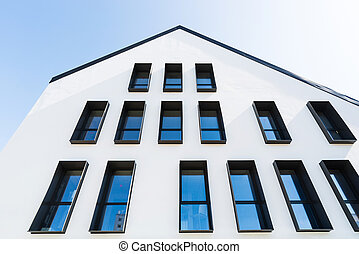 moderne, façade, bâtiment, blanc