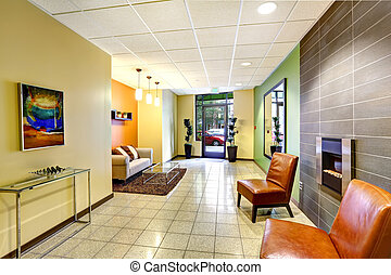 moderne, farverig, foyer., beboelses, bygning.