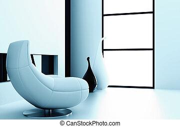 moderne, fenêtre, unique, vases, intérieur, chaise