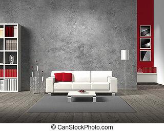 moderne, fictitious, woonkamer, met, witte bank, en, de...