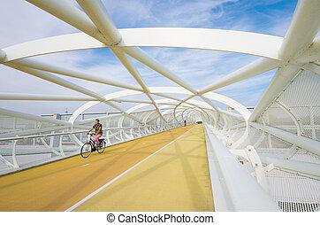 moderne, fiets, en, voetbrug