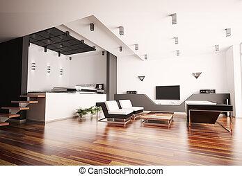 moderne, flat, interieur, 3d