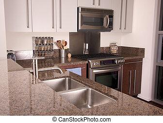 moderne, flat, keuken