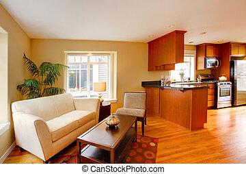 moderne, flat, woonkamer, en, keuken