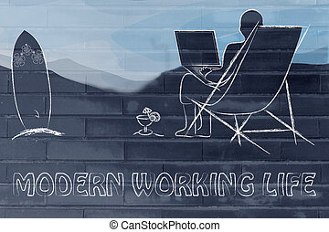 moderne, fonctionnement, life:, homme, à, sien, ordinateur portable, plage
