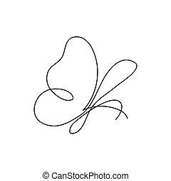 moderne, formulaire, carte, continu, une, insecte, ligne, bannière, dessin, logo, butterfly.