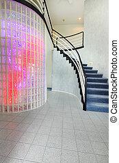 moderne, foyer, hos, glas bloker, mur, fiks