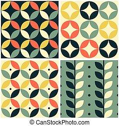 moderne, géométrique, style, vendange, motif, conception, ...