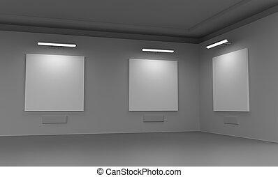moderne, galerie, salle