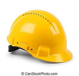 moderne, gele harde hoed, beschermend, bouwhelm, vrijstaand
