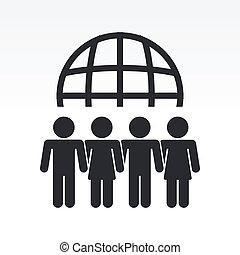 moderne, gens, global, illustration, vecteur, dépeindre, réunion, icône