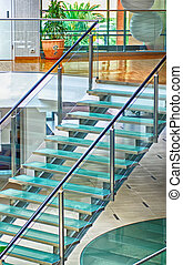 moderne, glas, trappe