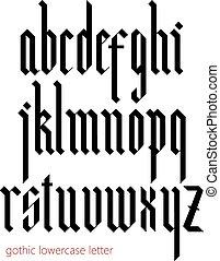 moderne, gotisch, blackletter, font.