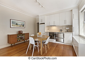 moderne, gourmet, cuisine, intérieur
