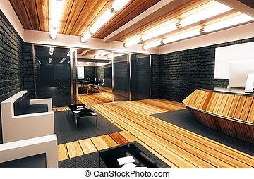 moderne, grenier, style, spacieux, salle réception, à, entrée, dans, salle conférence