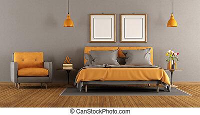 Orange, moderne, chambre à coucher.