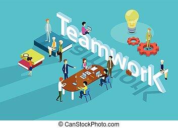 moderne, groep, zakenkantoor, mensen, werken