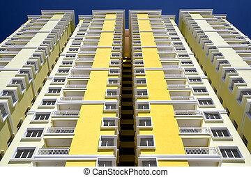 moderne, hallo-stijging, flats