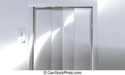 moderne, hd, vert, ascenseur