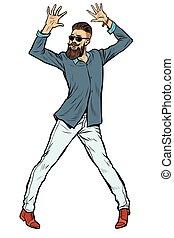 moderne, hipster, jeune homme, danse