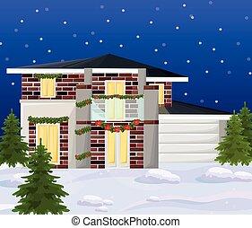 moderne, hiver, maison, vectors, holidays., architecture, façade, pendant