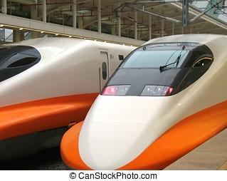 moderne, hoge snelheid trein, motor