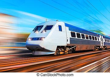 moderne, hoge snelheid trein