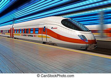 moderne, hoge snelheid trein, vertrekt, van, spoorwegstation