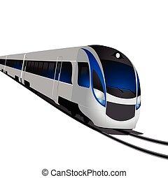 moderne, hoge snelheid trein, vrijstaand, op wit
