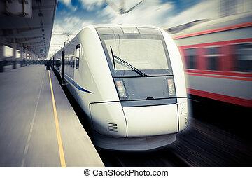 moderne, hoge snelheid trein, wachten, voor, vertrek