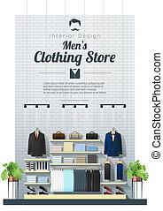 moderne, hommes, 2, fond, intérieur, vêtant magasin