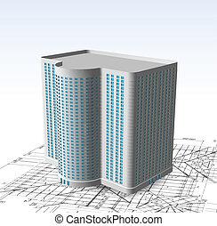 moderne, hvid, bygning., vektor