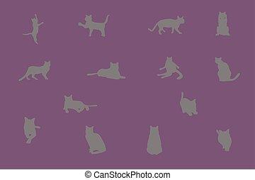 moderne, illustration, chat, style., silhouette, gris, géométrique, vecteur, eps10, ensemble, plat, mignon, élément