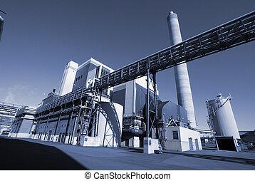 moderne, industriebedrijven, fabriek, in, blauwe toon