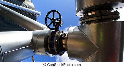 moderne, industriebedrijven, fabriek, tegen, blauwe hemel