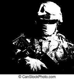 moderne, infanterie, élevé, noir, portrait, contraste