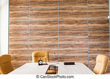 moderne, intérieur bureau, conception, à, mur, de, synthétique, bois, panneaux