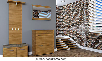 moderne, intérieur, de, a, petit, apartment., hallway., 3d, rendre