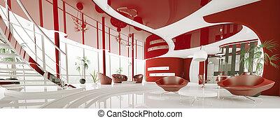 moderne, intérieur, de, appartement, panorama, 3d, render