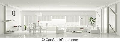 moderne, intérieur, de, blanc, appartement, panorama, 3d